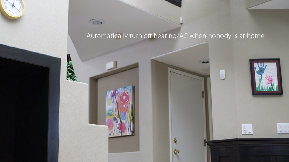 Automatically turn off heating/AC when nobody is at home.